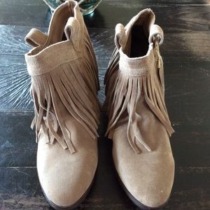 Restricted Tan Leather fringed booties SZ. 9